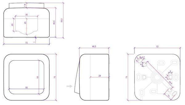 dimensiones interruptor 10a 250v panasonic viko