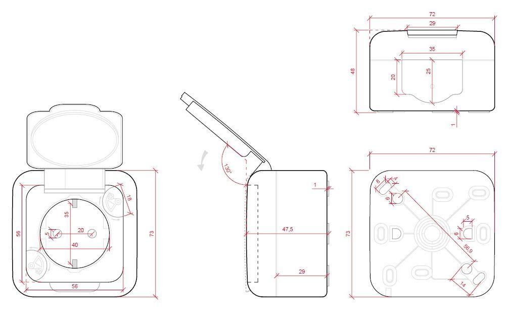 dimensiones toma de corriente con tapa 16A 250V viko panasonic