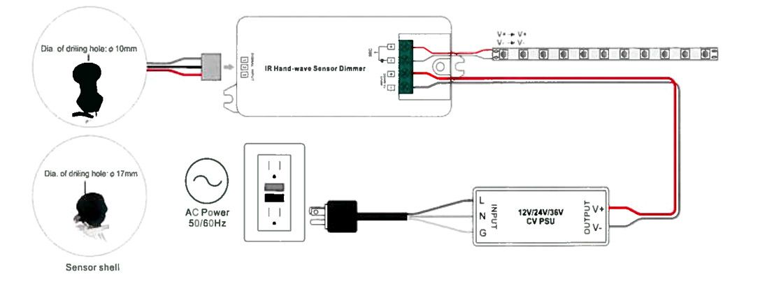 Dimmer Interruptor Touch Empotrable diagrama cables