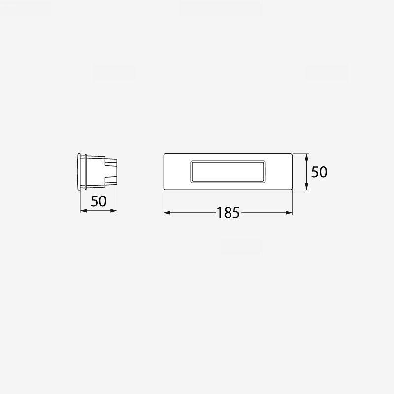 medidas aplique de pared fumagalli empotrable baliza nina 190