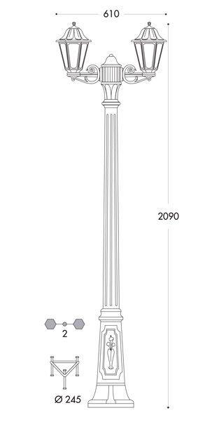 medidas farola doble fumagalli bisso anna 2 metros e27