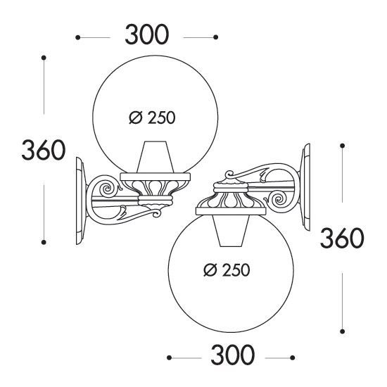 medidas aplique de pared fumagalli globo bisso g250 e27 exterior