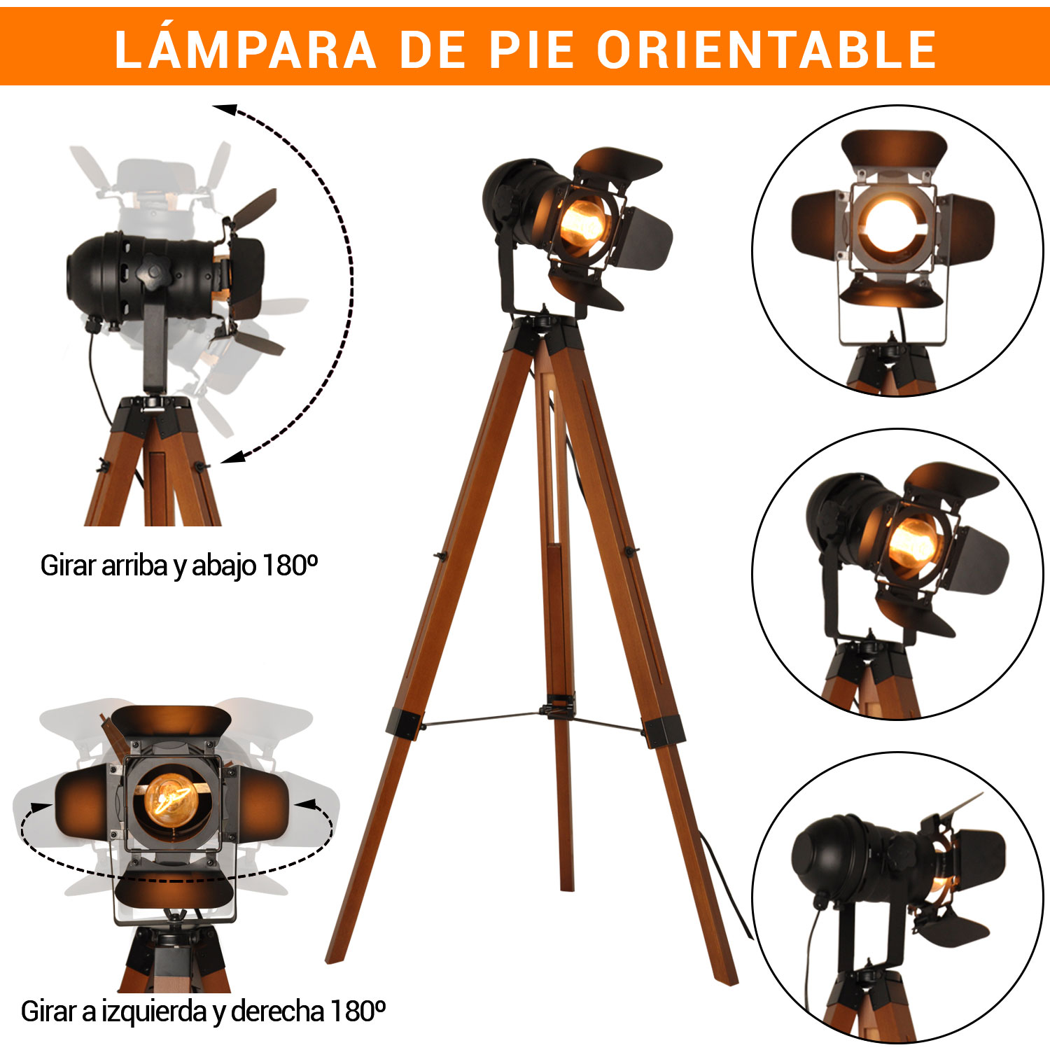 lámparas de pie orientables