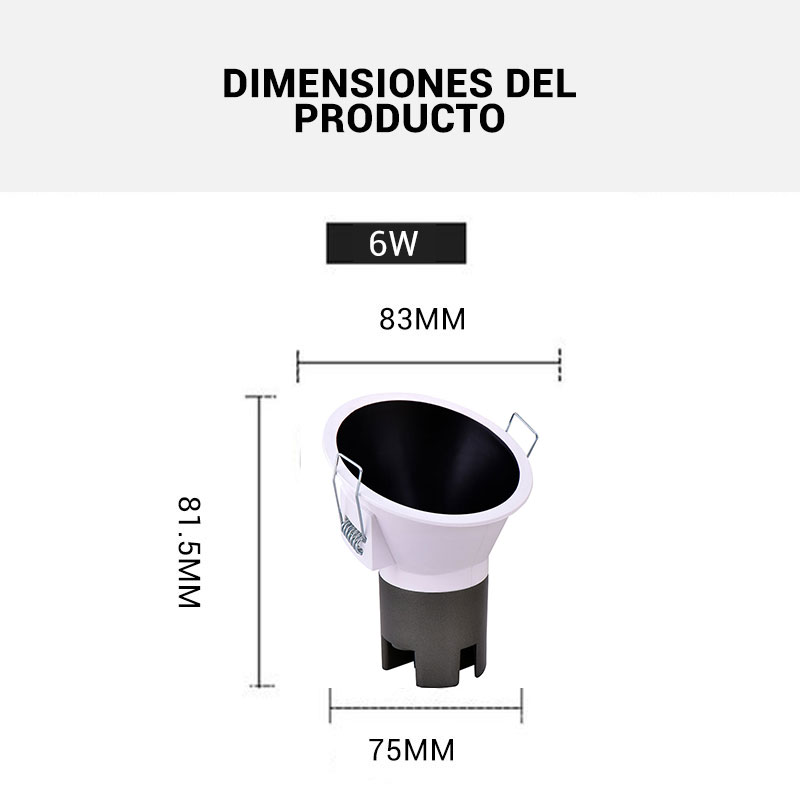 Dimensiones bañador LED