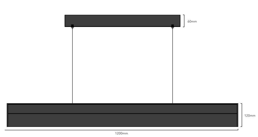lampara colgante led 120cm lineal