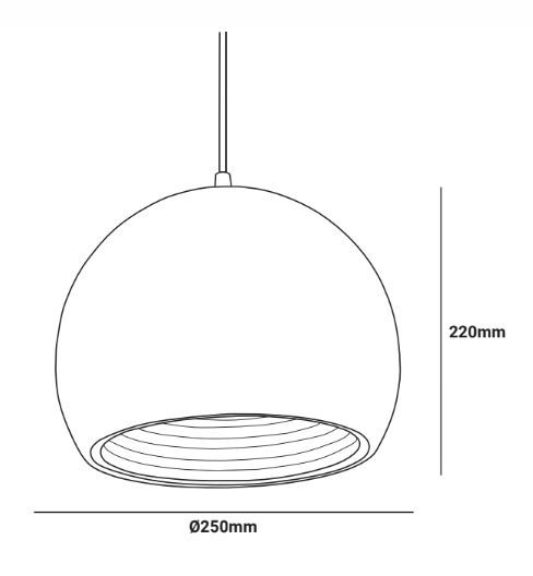 detalle medidas lampara colgante caly estilo nordico e27