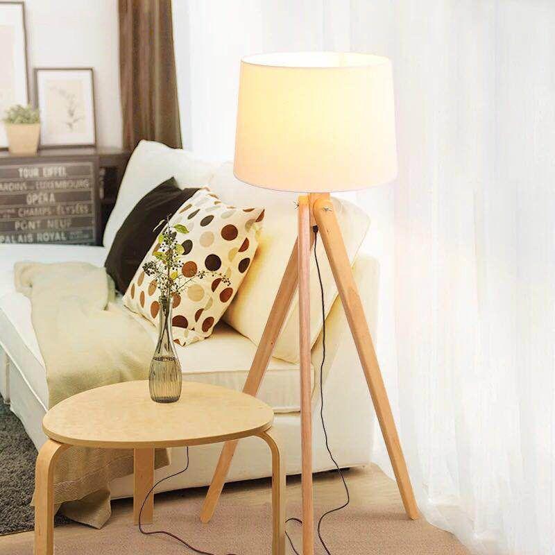 lampara pie tripode madera nashua