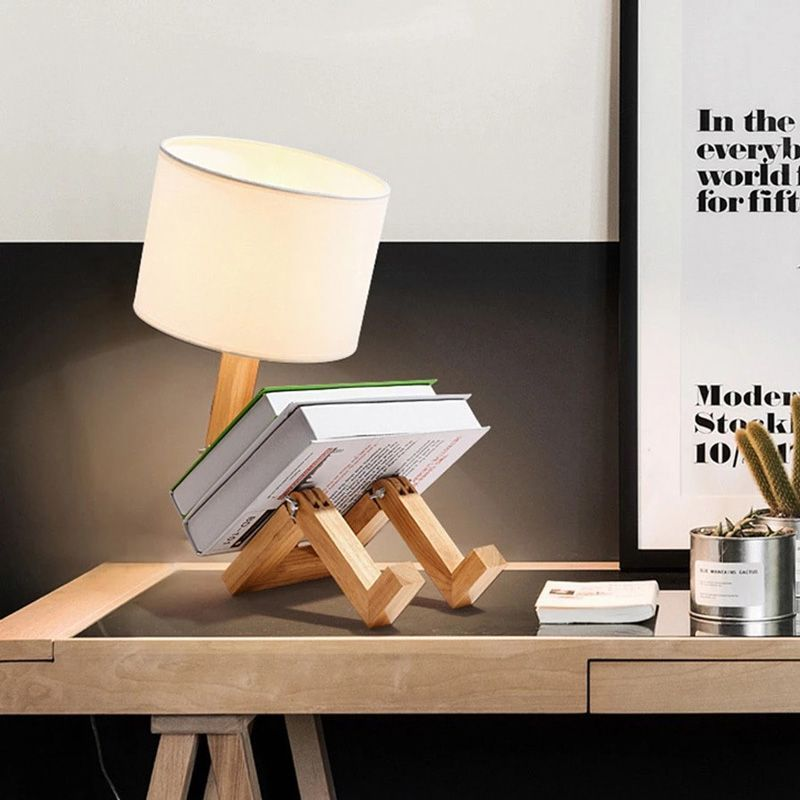 lampara de mesa articulada de madera