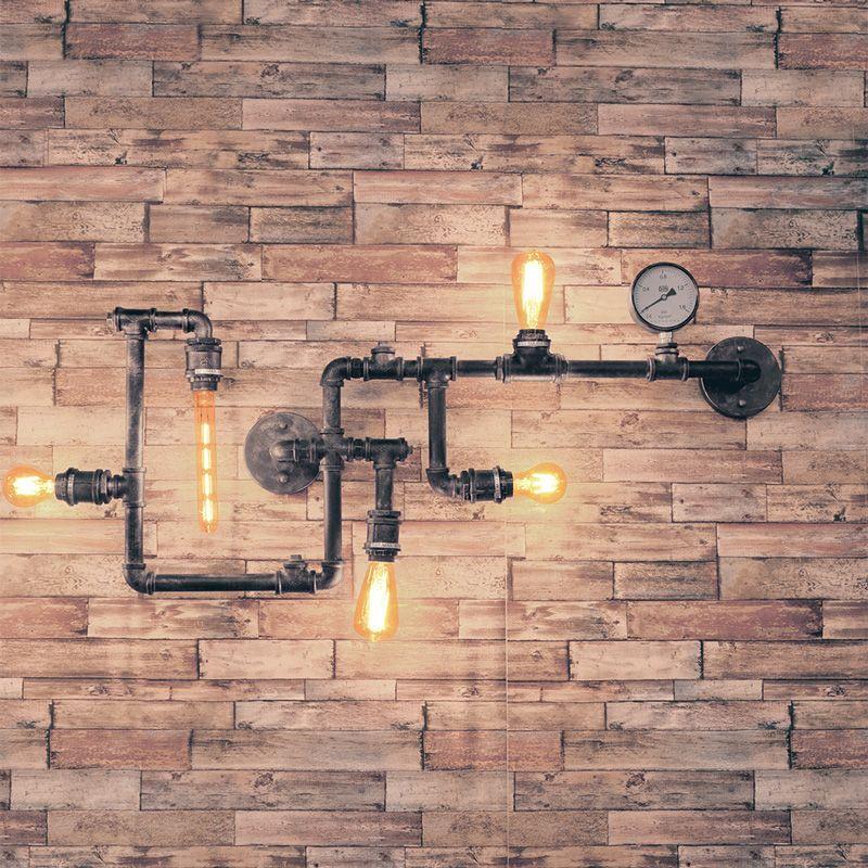 lampara aplique de pared tuberia