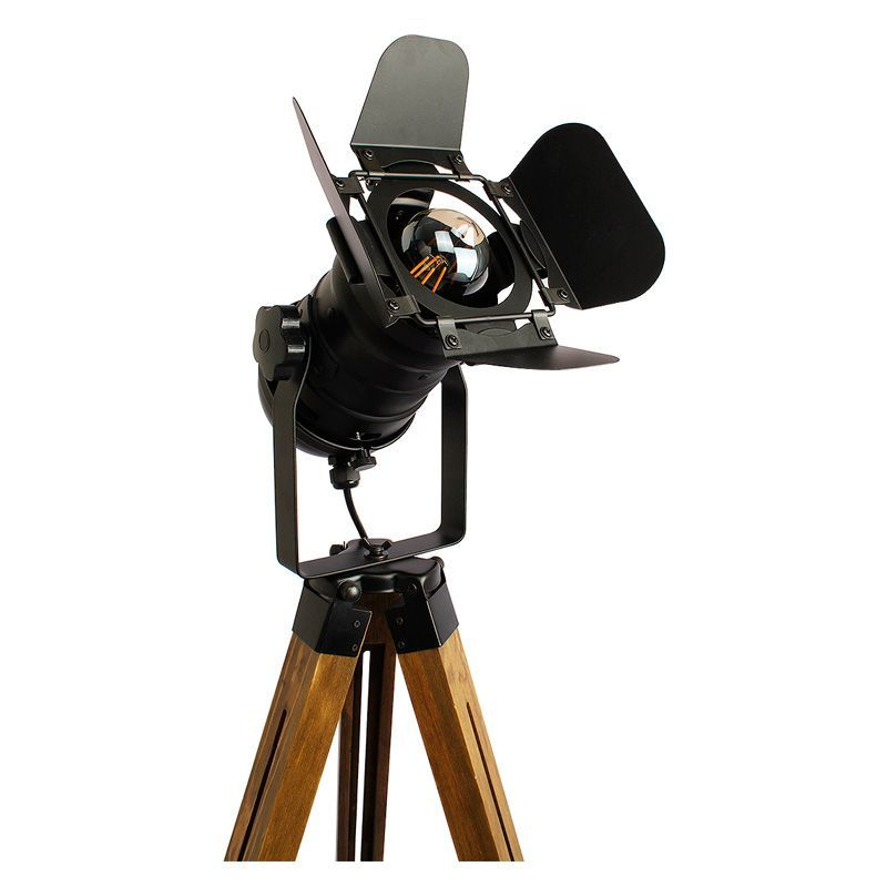 lampara de pie tripode madera cinema foco