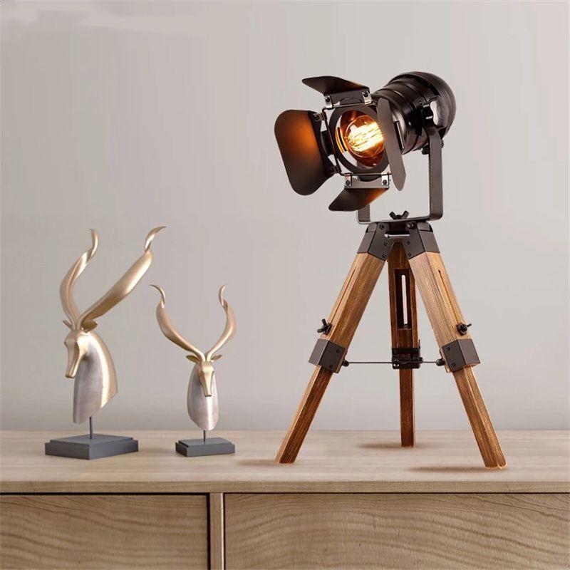 lampara de sobremesa tripode madera vintage industrial