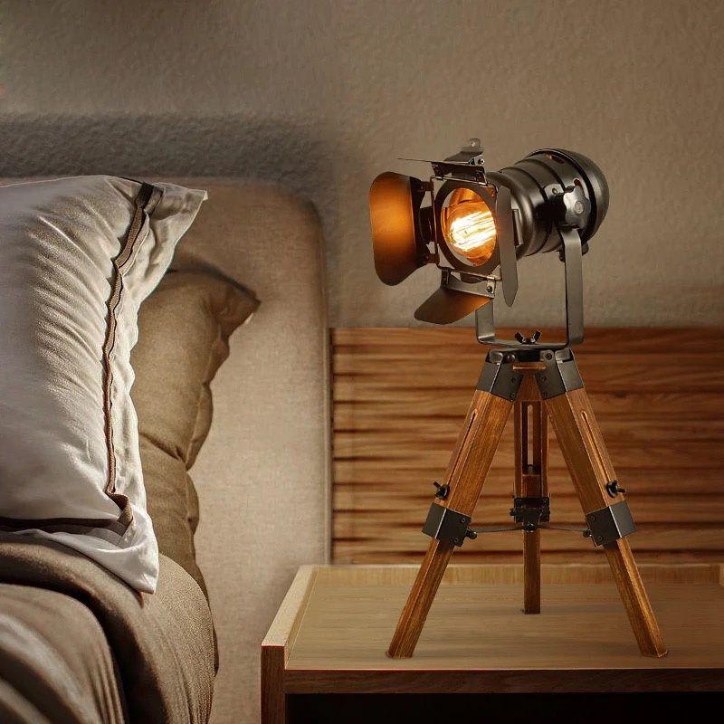 lampara de mesa tripode madera vintage industrial e27