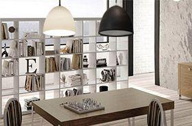 iluminación del hogar con lámparas blancas y negras
