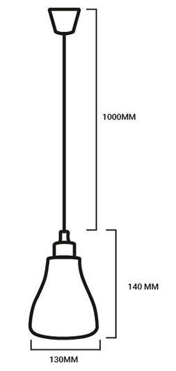 esquema de las medidas de la lámpara round fold