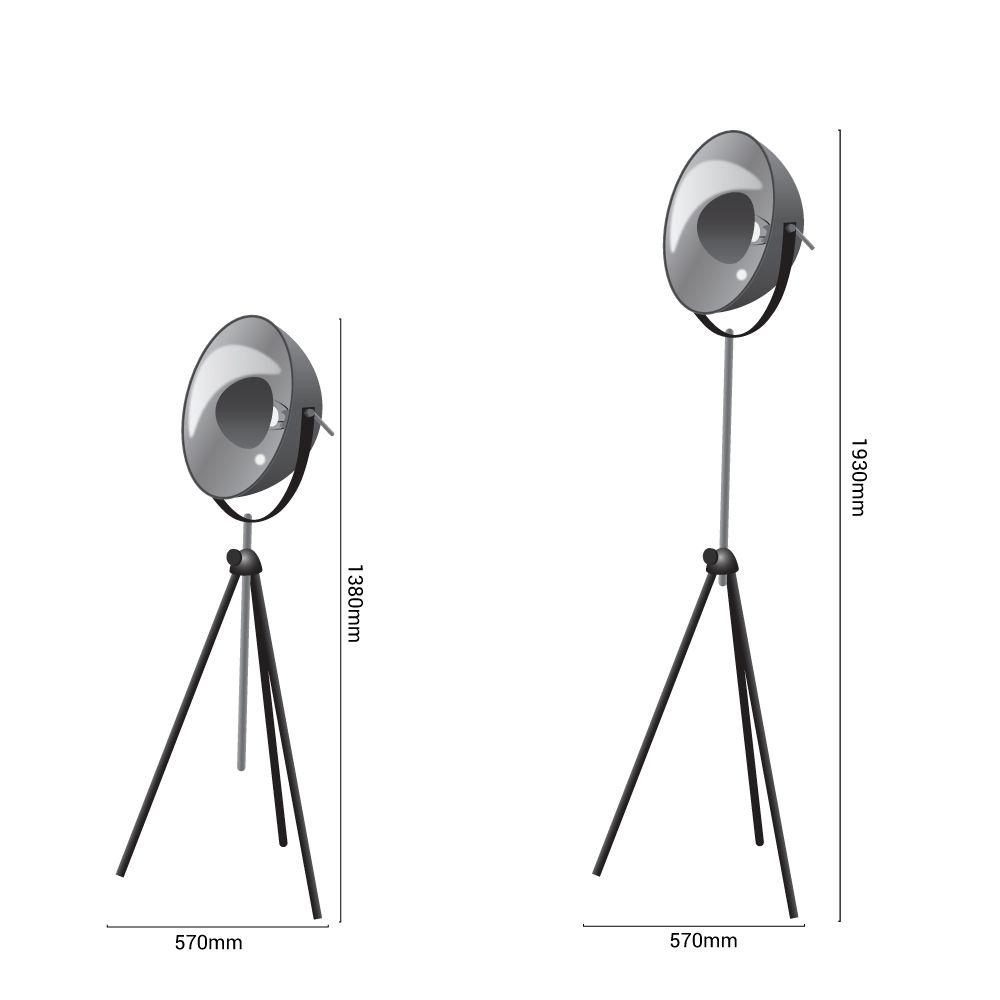 medidas lámpara tripode