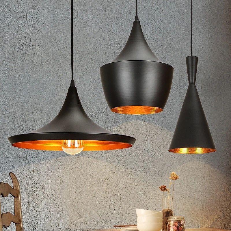 lampara colgante interior dorado aluminio