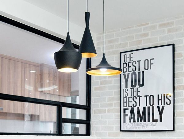 lampara colgante nordica interior dorado aluminio negro