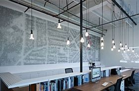 iluminacion de oficinas con cables textiles decorativos
