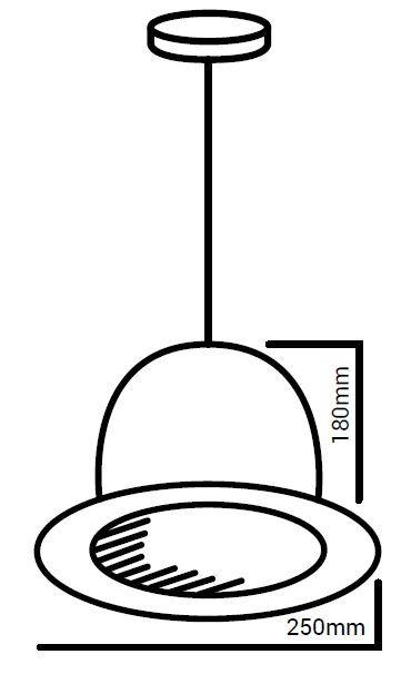 detalle medidas lámpara sombrero bombín