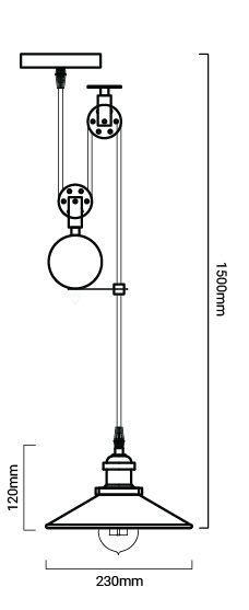 esquema medidas de la lampara polea