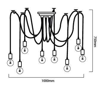 esquema medidas de lámpara araña de colgar