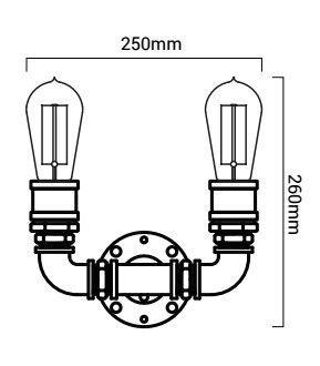 esquema de medidas lampara copper en U