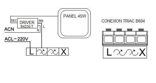 esquema conexión de paneles led con regulador Triac