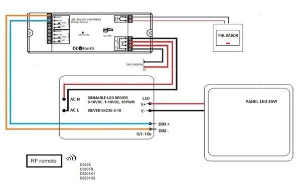 esquema instalacion driver regulable en panel