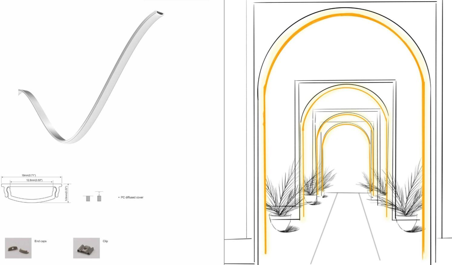 perfilpara tira led moldeable esquema de instalacion