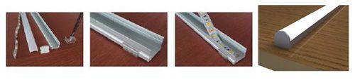 croquis de como instalar una tira led con perfil de superficie