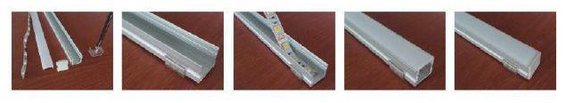croquis de como instalar una tira led en perfil de superficie