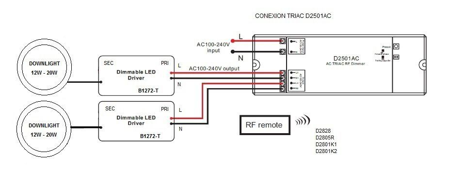 Esquema montaje de driver regulador para downlights led