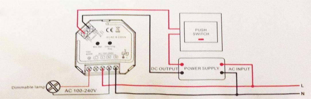 esquema de uso e instalación del mini regulador triac