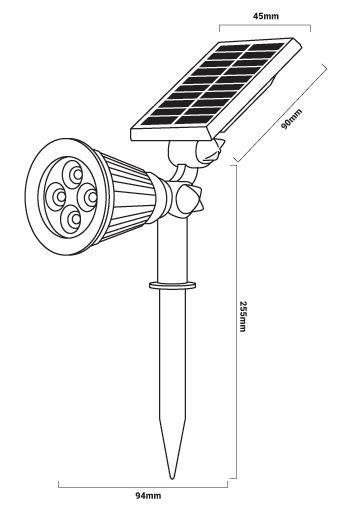Medidas reflector solar con pincho