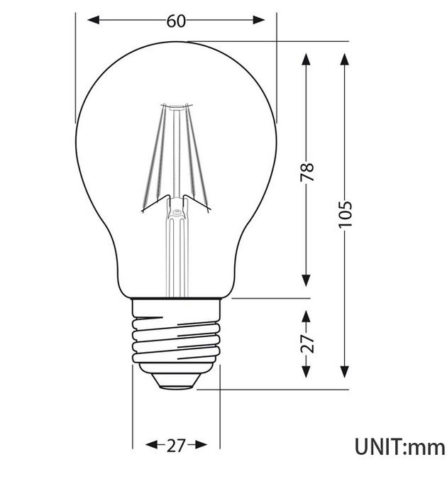 medida bombilla led filamento