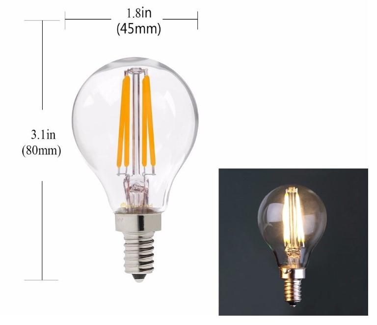LÂMPADA LED DE FILAMENTO E14 G45 4W 350LM 3000K MAIS LUZ LED