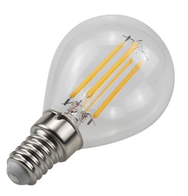 LÂMPADA LED DE FILAMENTO TRANSPARENTE  E14 G45 4W 350LM 3000K