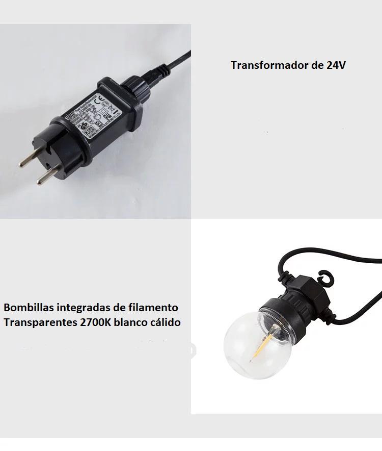 GRINALDA DE LED PARA EXTERIOR COM 10 LÂMPADAS INTEGRADAS 8M. IP44