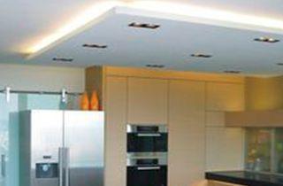 kardans y focos led QR111 instalados en isla de cocina