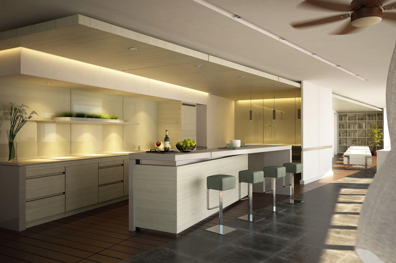 puntos de luz en cocina dicroicas led en el techo y bombillas b en lmparas colgantes en cocina tiras led blanco clido en techo y dicroicas en