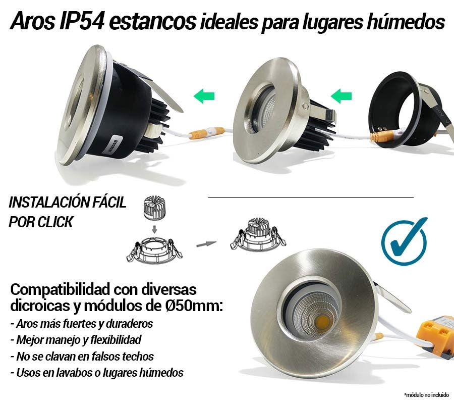 aro estanco ip54 para dicroicas de 50mm diámetro