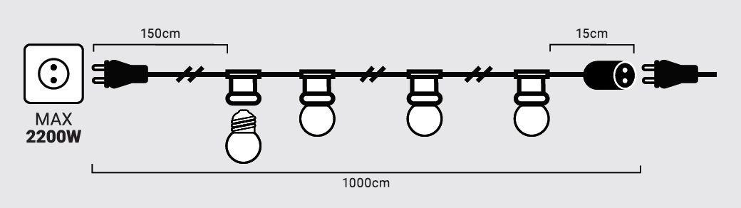 medidas guirnalda exterior e27 ip65