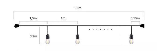 medidas guirnalda led e27 ip65