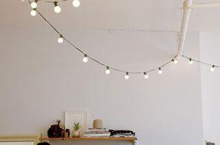 Guirnaldas de luces LED en decoración escandinava
