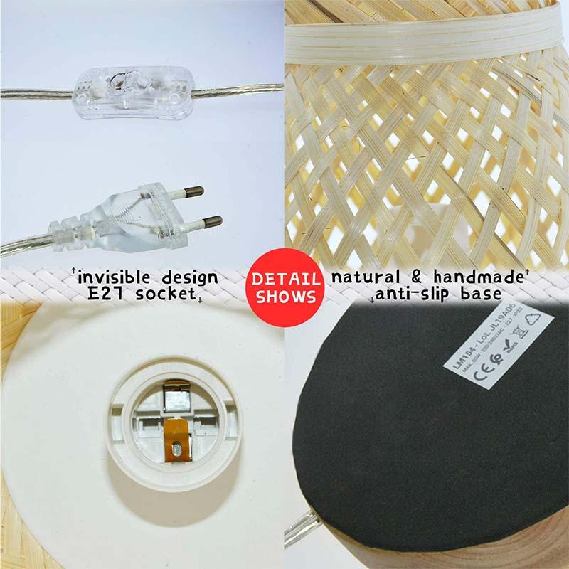 lámpara de mesa detalles mimbre