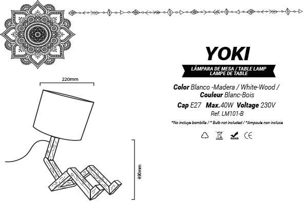 esquema de las medidas de la lampara de madera yoki