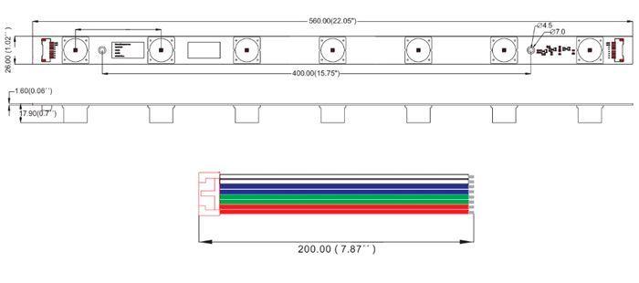 medidas modulo rotulación rigido led rgb