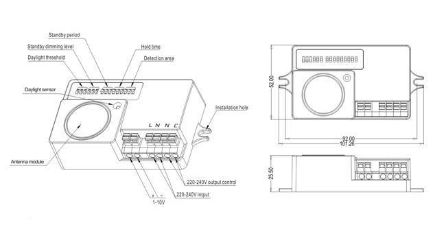 Sensor de movimiento por Microondas esquema