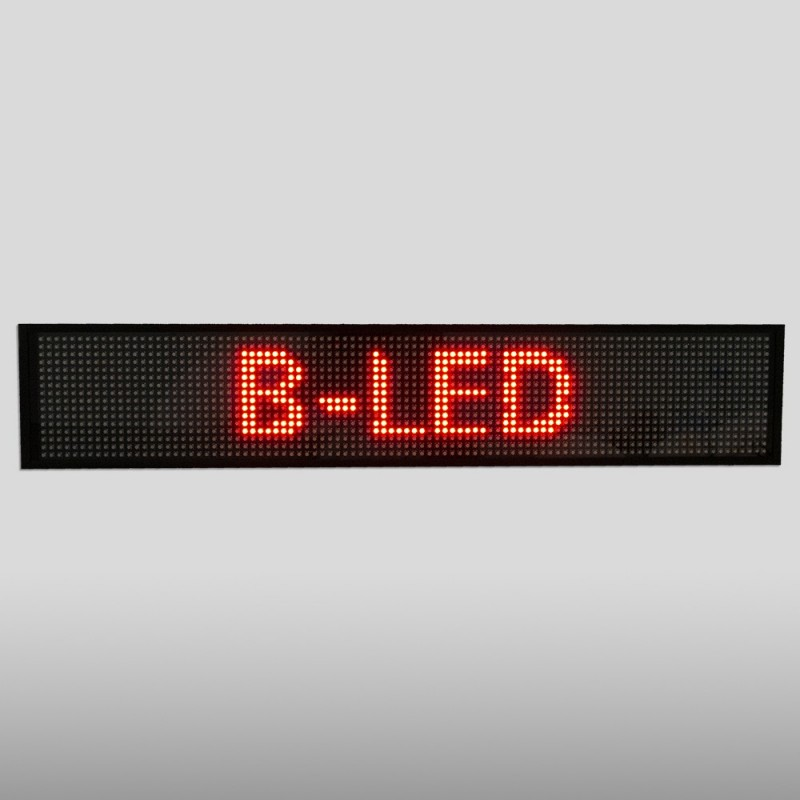 Letreiro LED programável monocor vermelho 50x9,5cm WIFI / USB