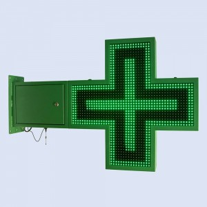 Cruz de farmácia LED monocor verde programável 830x830mm